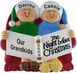 Night Before Christmas - 2 Grandkids Personalized Christmas Ornament