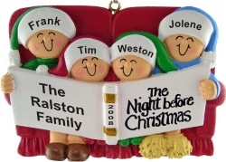 Night Before Christmas Family of 4 Christmas Ornament Personalized by Russell Rhodes