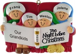 Night Before Christmas - 4 Grandchildren Personalized Christmas Ornament