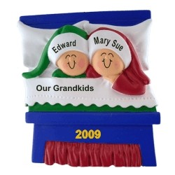 2 Grandkids Snuggled in Bed Christmas Ornament Personalized by Russell Rhodes