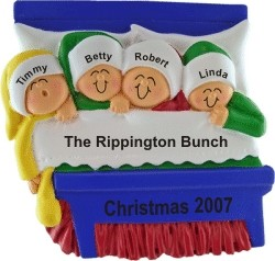 Christmas Morning Family of 4 Christmas Ornament Personalized by Russell Rhodes