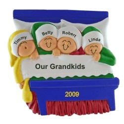 4 Grandkids Snuggled in Bed Personalized Christmas Ornament