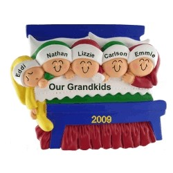5 Grandkids Snuggled in Bed Personalized Christmas Ornament