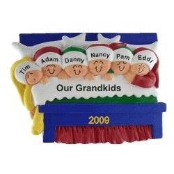 6 Grandkids Snuggled in Bed Christmas Ornament Personalized by Russell Rhodes
