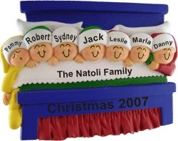 Christmas Morning Family of 7 Christmas Ornament Personalized by Russell Rhodes
