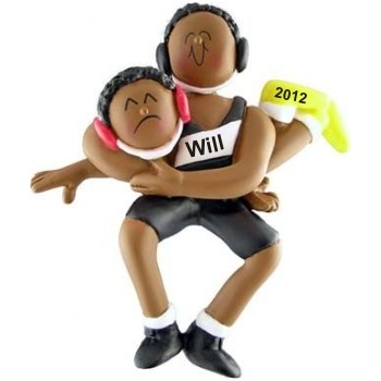 Male African-American Wrestling Personalized Christmas Ornament