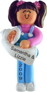 Big Sister with Brown Hair Personalized Christmas Ornament