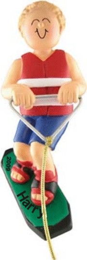 Wakeboard King! Male Blonde Hair Personalized Christmas Ornament