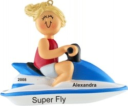 Jet Ski Female Blonde Hair Personalized Christmas Ornament
