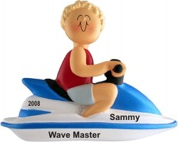Jet Ski Male Blonde Hair Personalized Christmas Ornament