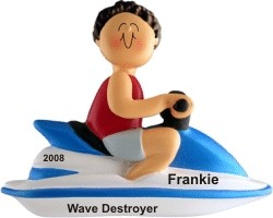 Jet Ski Male Brown Hair Christmas Ornament