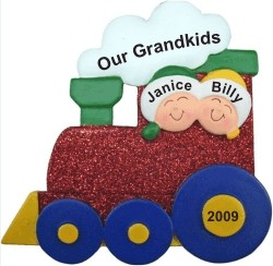 2 Grandkids Christmas Train Personalized Christmas Ornament
