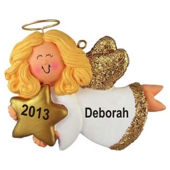 Angel with Star Female Blonde Hair Personalized Christmas Ornament