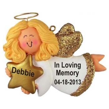Memorial Angel Female Blonde Personalized Christmas Ornament
