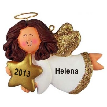 Angel with Star Female Brown Hair Personalized Christmas Ornament