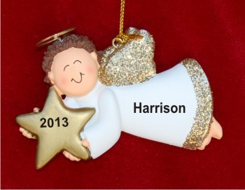 Angelic Blessing Male Brunette Personalized Christmas Ornament