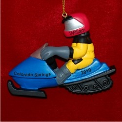 Snowmobile Fun Personalized Christmas Ornament