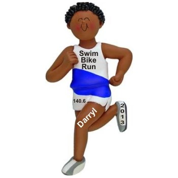 African-American Male Triathalon Runner Personalized Christmas Ornament