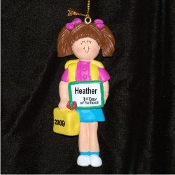 First Day of School, Female Brunette Personalized Christmas Ornament
