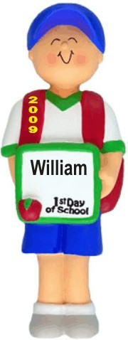 First Day of School, Male Personalized Christmas Ornament
