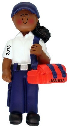 EMT Female African American Christmas Ornament Personalized by Russell Rhodes