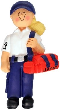 EMT, Female Blonde Personalized Christmas Ornament