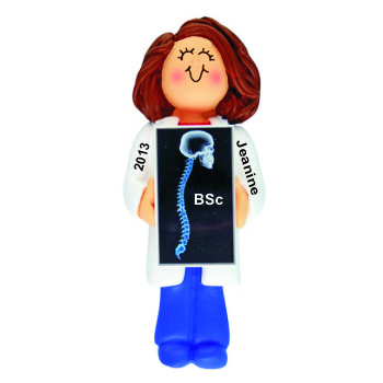 Chiropractor School Graduation Gift Idea Female Brunette Christmas Ornament Personalized by Russell Rhodes