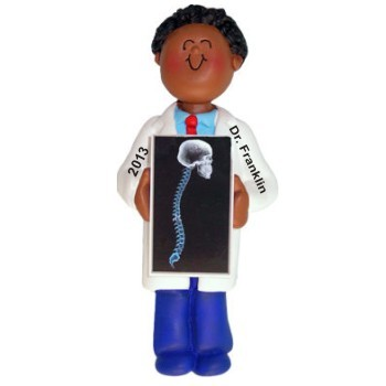 African American Male Chiropractor Personalized Christmas Ornament