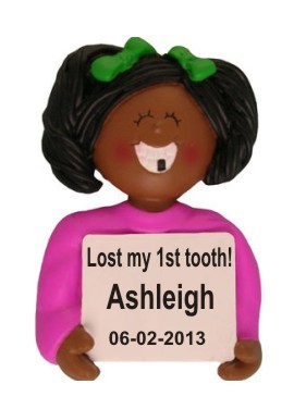 Lost a Tooth African American Female Christmas Ornament Personalized by Russell Rhodes