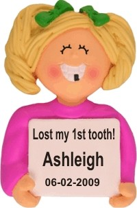 Lost a Tooth, Female Blonde Personalized Christmas Ornament