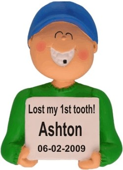 Lost a Tooth, Male Personalized Christmas Ornament