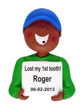Lost a Tooth African American Male Christmas Ornament Personalized