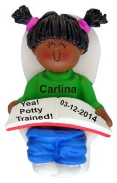 Potty Trained African American Female Christmas Ornament Personalized by Russell Rhodes