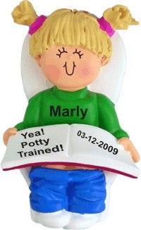 Potty Trained, Female Blonde Christmas Ornament Personalized by Russell Rhodes
