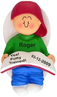 Potty Trained, Male Christmas Ornament Personalized by Russell Rhodes