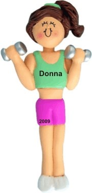 Aerobics Female Brunette Personalized Christmas Ornament