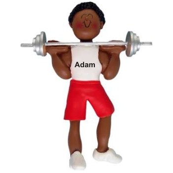 African-American Male Weight Lifter Personalized Christmas Ornament