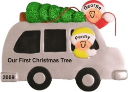 Our First Christmas Tree Christmas Ornament Personalized by Russell Rhodes