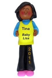 Pregnant Woman, African American Personalized Christmas Ornament