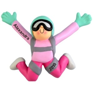Female Sky Diving Personalized Christmas Ornament