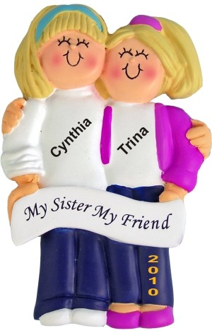 Both Blonde, Sisters Personalized Christmas Ornament