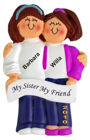 Both Brunette, Sisters Personalized Christmas Ornament