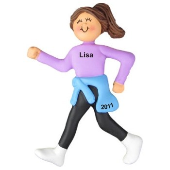 Speed Walking/Runner Female Brunette Christmas Ornament Personalized by Russell Rhodes