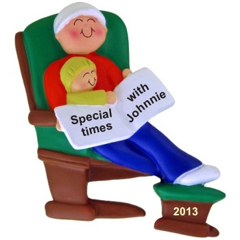 New Dad in Glider Christmas Ornament Personalized by Russell Rhodes