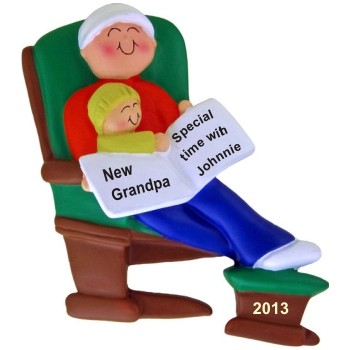 New Grandpa in Glider with Grandchild Christmas Ornament
