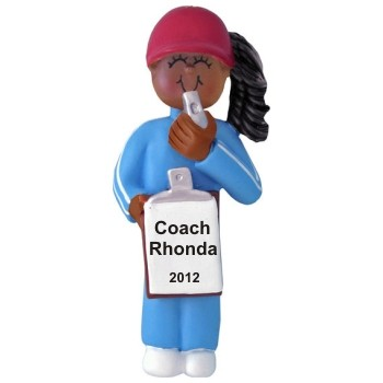 African-American Female Coach Christmas Ornament