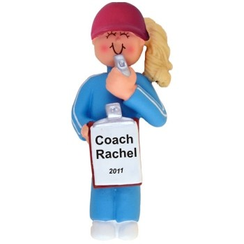 Coach Female Blonde Personalized Christmas Ornament