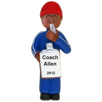 African-American Male Coach Personalized Christmas Ornament