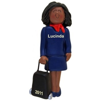 African American Female Flight Attendant Christmas Ornament