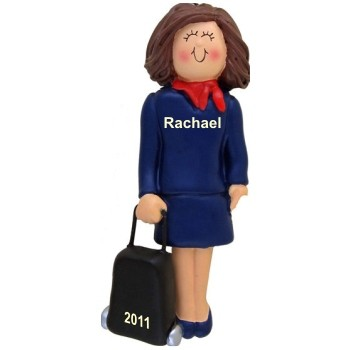 Female Brunette Flight Attendant Personalized Christmas Ornament